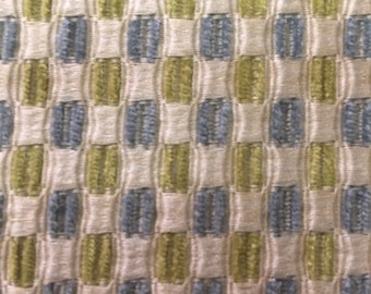 Aqua and Green on Cream Woven Upholstery Fabric - Modern Upholstery Fabric By The Yard