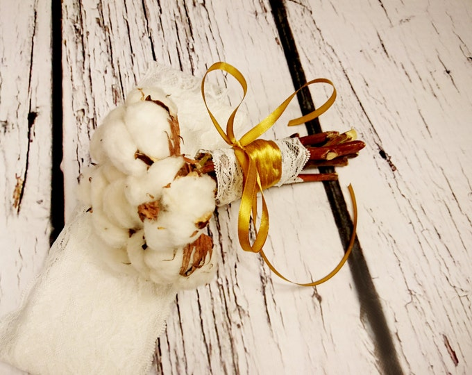 Natural organic raw cotton bolls gold SMALL rustic wedding BOUQUET autumn, winter, winterwonderland, elegant bouquet,  lace bridesmaid