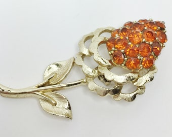 Vintage Gold Tone Flower Brooch Orange Stone Brooch Orange Flower Vintage Brooch