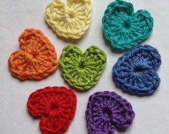 Crochet Heart Appliqué Embellishments in the Colours of the Rainbow
