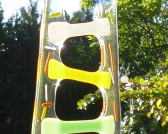 Large Fused Glass Ladder Suncatcher.  Glass Suncatcher.