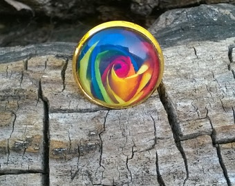 Multi Colored Rose Resin Ring