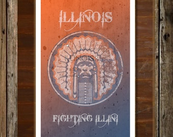 Illinois Fighting Illini Map Topographical Sports Print Art 11x17