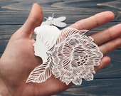 "Paper cut miniature, paper cutting art ""Girly"" original hand cut work in white , art silhouette of a flower girl by Eugenia Zoloto"