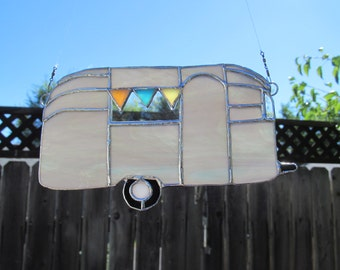 Iconic Vintage Trailer Stained Glass Suncatcher