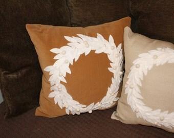 pillows with  linen wreath