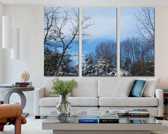 3 Panel Split Canvas Winter Wall Art Print Forest Snow