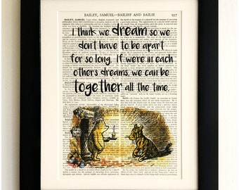 FRAMED ART PRINT on old antique book page - Winnie the Pooh Quote, Tigger, Vintage Wall Art Print Encyclopaedia Dictionary