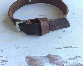 Eco-Friendly Brown Leather Buckle Cuff