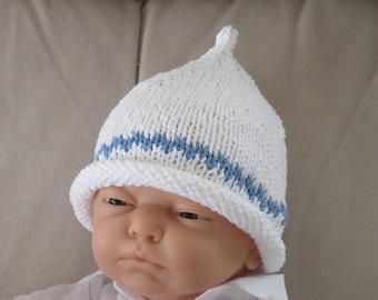 Baby Hat, Newborn, Chevron Stripe, Pixie, Cotton, Hand Knit