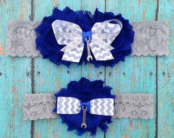 Mechanic Garter Set   Something Blue Wedding Garters   Bridal Garter and Toss Garter   Other Colors and Prints Available   Customize