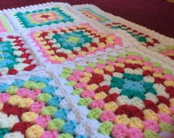 Granny Square Hand Crochet Blanket