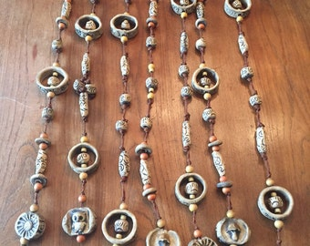 Set of Hand Made Clay Bead Hangings