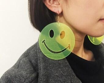 Acrylic laser cut happy sad face smiley face earrings