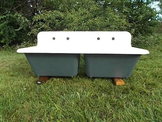 Antique Cast Iron Super Deep Double Farm Sink Highback Rolled