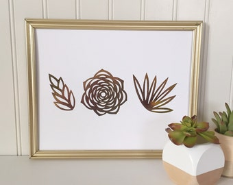Succulent Real Foil Print - Cactus Wall Art - Home or Office Wall Decor - Nature - Plant - Botanical - Gold