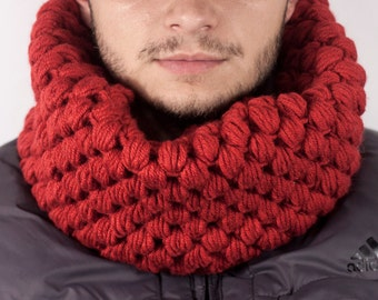 Men's Chunky Cowl Men's Scarf Men's Snood Hand Knit Cowl Neck Scarf Winter Accessories  Mix Cowl Scarf by LoveKnittings