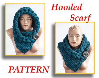 PATTERN, Scoodie, Hooded Cowl, Hooded Scarf, Instant Download, DIY by LoveKnittings