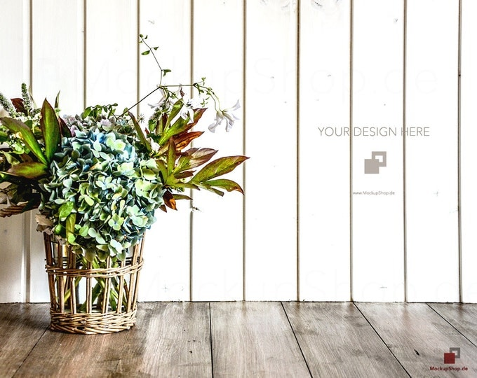 MOCKUP BACKGROUND FLOWER with wooden Frame on a white wooden Wall and amazing flowers, Hortensia, Mockup Frame, Empty Mockup Frame, Frame