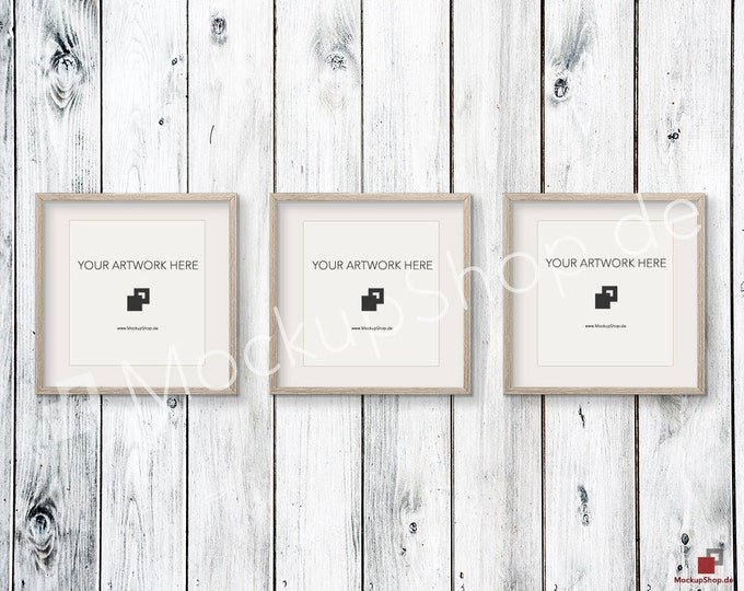 Set of 3  SQUARE Weathered brown MOCKUP FRAME on old white wooden wall, Frame Mockup, Amazing brown photo frame mockup, Digital Download