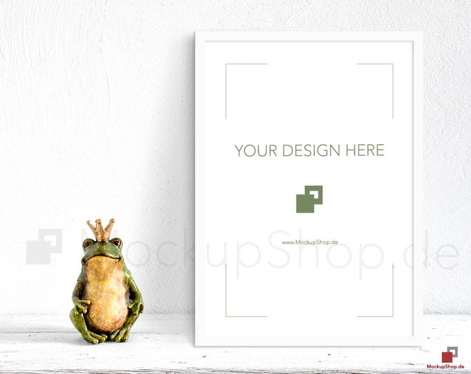 A2 white FRAME MOCKUP NURSERY frog prince vertical  / Nordic Scene / Scandinavian scene / stock photography / instant download