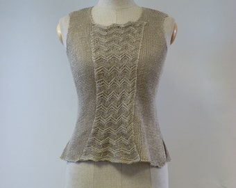 Beautiful Art Deco natural linen top, M size. Only one sample.