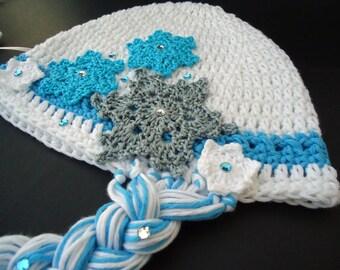 "Crochet hat, Baby beanie, Elsa hat, hat for girls, newborn hat, head accessories - Frozen's Inspiration - Up to adult 58 cm (22"")"