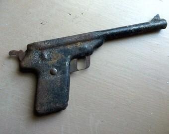 Antique Vintage Toy Pistol Gun Primitive Design Tin