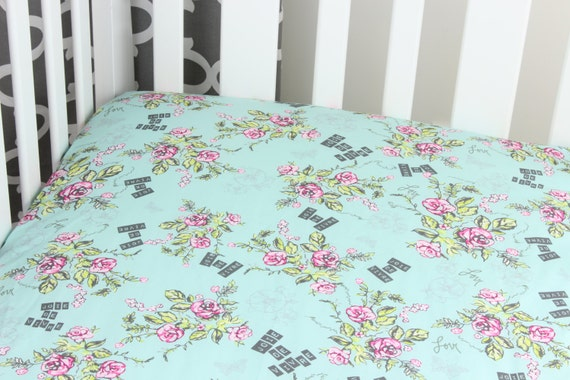 Aqua Pink Floral Cotton Crib Sheet French Theme Joie De Vivre Joy of Life Changing Pad Cover Baby Crib French Crib Nursery Roses Aqua Gray