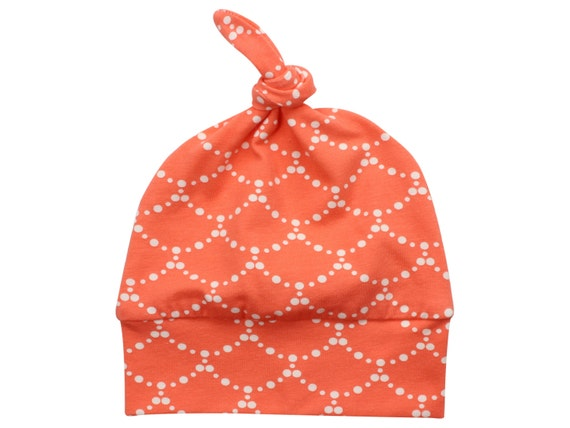 Coral Ripple Top Knot Hat Girl Baby Beanie Hat Coral and Cream Baby Newborn Beanie Toddler Slouch Beanie Baby Girl Gift Infant Coral Ripple