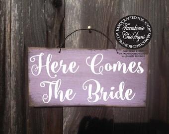 here comes the bride, Here Comes The Bride Sign, wedding sign, rustic wedding, wedding decor, flower girl sign, 256