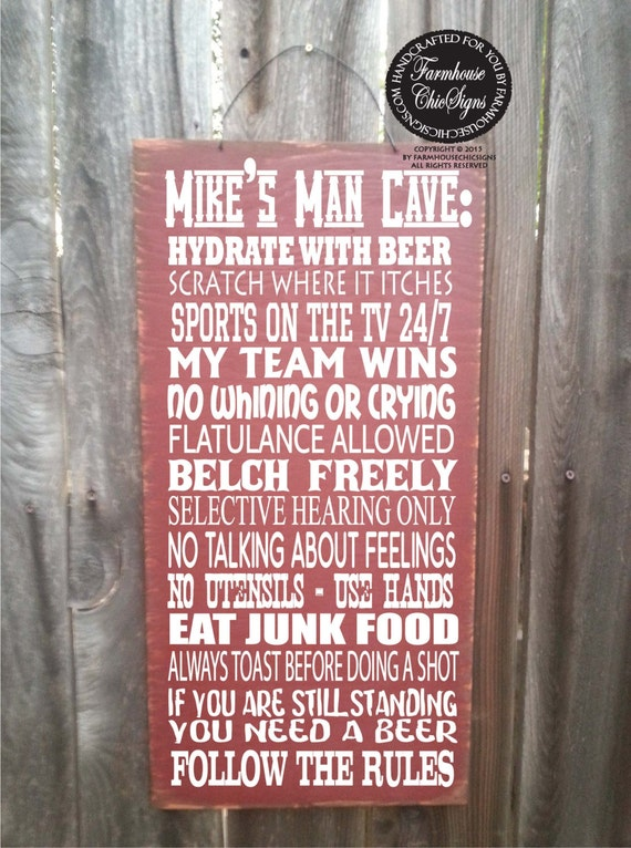 man cave rules, personalized man cave sign, man cave decor, personalized man cave gift, man cave wall decor, man cave art, 145/142