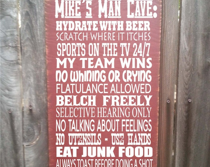 man cave rules, personalized man cave sign, man cave decor, personalized man cave gift, man cave wall decor, man cave art, 142