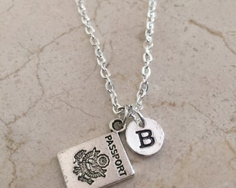 Passport initial necklace, travel necklace, world travel necklace, passport jewelry, silver passport necklace, gift for traveler