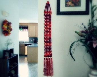 Crochet Mesh Wall Hanging - Red Tones