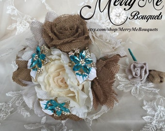 Burlap Brooch Bouquet - Teal Burlap Bouquet - Teal Rustic Bouquet - Shabby Chic Bouquet - Teal Bouquet - Burlap Bridal Bouquet