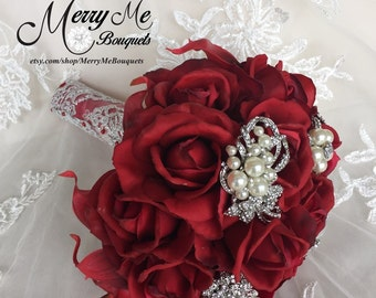 Red Brooch Bouquet - Red Rose Bouquet - Red Rose Broach Bouquet - Red Rose Brooch Bouquet - Real Touch Rose Bouquet - Red and Silver