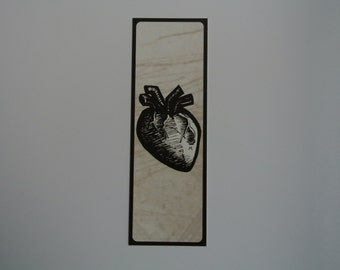 Bookmark- Heart- Black and White (1 pc)