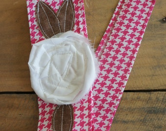 Fabric Flower Head Wrap, Pink Houndstooth with White flower Tie Headband - Mae