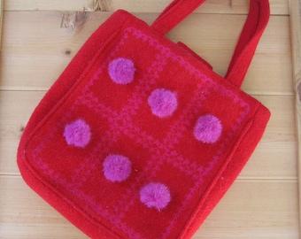 Wool Felt Bag Recycled - Red Felt Bag Pink PomPom Embellishment - OOAK