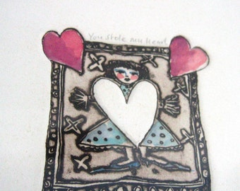 Limited Edition Vintage Hannah Swain Etching, 'You Stole My Heart', 1988 Valentine's Day