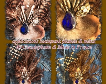 applications steampunk style hat feathers & metal