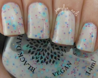 White Crelly with Colorful Glitter Nail Polish -- Rain Daisy by Black Dahlia Lacquer