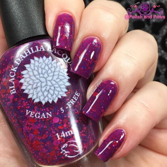 Matte Black Glitter Nail Polish: Bright Plum Crelly With Matte Glitter Nail Polish By Black
