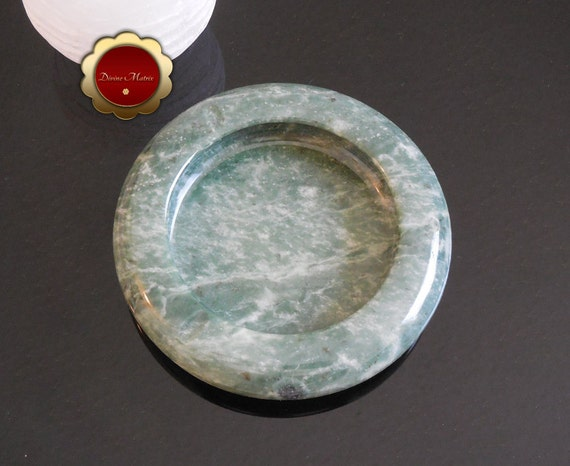 Round Green Marble : Forrest green marble ashtray round stone