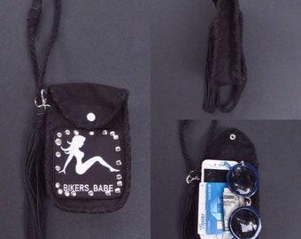 Motorcycle bag. Biker bag. Motorcycle patch. Biker patch. Leather fanny pack. Leather fringe fanny pack. Medicine bag. Fringe keychain. Boho
