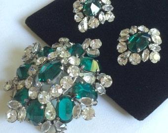Outstanding Vintage Schreiner N.Y Brooch & Earrings Set-Emerald Green/Clear Rhinestones/Silver Tone~Signed