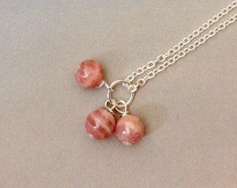 Trio Rhodochrosite Pendant - Rhodochrosite necklace, sterling silver, pink gemstone, ombra gemstone, natural gemstone
