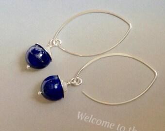 Lapis Earrings, Sterling Silver, December birthstone, blue gemstone, lapis jewelry, natural gemstones, blue earrings, minamlist earrings