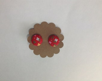 Red Floral Covered Button Earrings